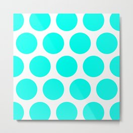 Large Polka Dots: Turquoise Metal Print