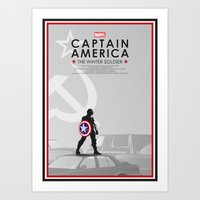 bucky Art Prints featuring Bucky Barnes by Samantha Panther
