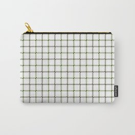 Fern Green & Sludge Grey Tattersall on White Background Carry-All Pouch
