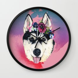 Flower Power  puppy Wall Clock