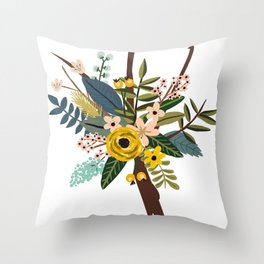 Bold Wildflower Bouquet Throw Pillow