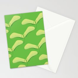 Maple Seed Print - Leaf Green Stationery Cards