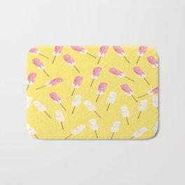 pink marshmallows pattern, yellow Bath Mat