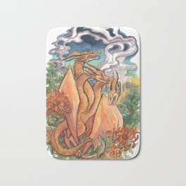 Three Headed Chrysanthemum Dragon Bath Mat