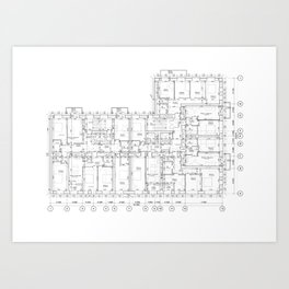 Detailed architectural floor layout Art Print