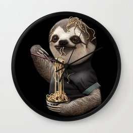 SLOTH EATING NOODLE Wall Clock