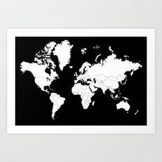 Minimalist World Map White on Black Background. Art Print
