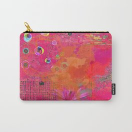 Hot Pink & Orange Abstract Art Collage Carry-All Pouch