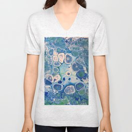 Blue Green Cells Fluid Pour Art Marble Swirls Stone Unisex V-Neck
