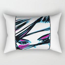 angry blue eyes battle angel Rectangular Pillow