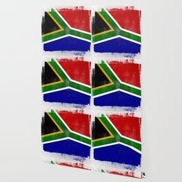 South African Distressed Halftone Denim Flag Wallpaper