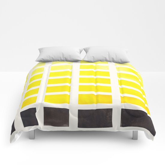 Watercolor geometric square yellow pattern mid century for Minimalist comforter