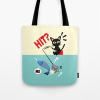 fishing Tote Bags featuring Fishing by BATKEI