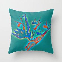 Teal and Aqua Glowing Bird of Paradise Floral Throw Pillow