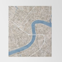 New Orleans Cobblestone Watercolor Map Throw Blanket
