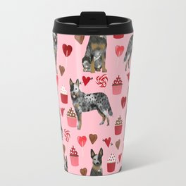 Australian Cattle Dog blue heeler valentines day cupcakes hearts love dog breed Travel Mug