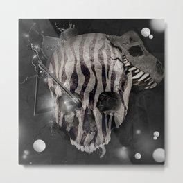Zebra Skull Metal Print