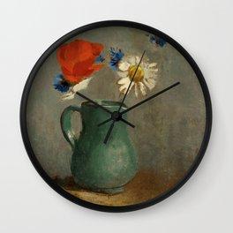 """Odilon Redon """"Pichet au Coquelicot et a la Marguerite"""" Wall Clock"""
