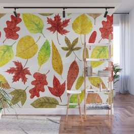 Autumn leaves watercolor white Wall Mural