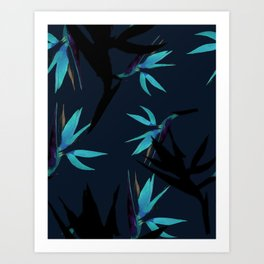 Fall print in navy and bright blue (also available in forest green and mustard) Art Print