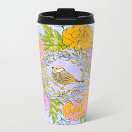 Spring Chickadee in Flowery Woodland Wreath Metal Travel Mug