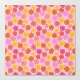 Hibiscus Hawaiian Flowers in Pinks and Corals on Pink Canvas Print