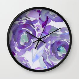 Purple Haze Painterly Floral Abstract Wall Clock