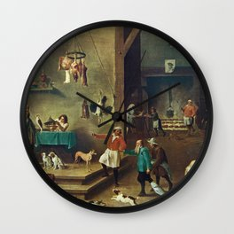 The Kitchen by David Teniers the Younger Wall Clock