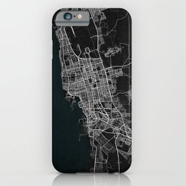 Jeddah City Map of Saudi Arabia - Dark iPhone Case