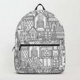 gingerbread town black white Backpack