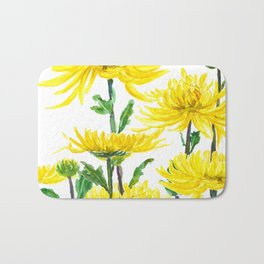 Yellow Chrysanthemums Bath Mat