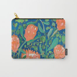 Coral Proteas on Blue Pattern Painting Carry-All Pouch