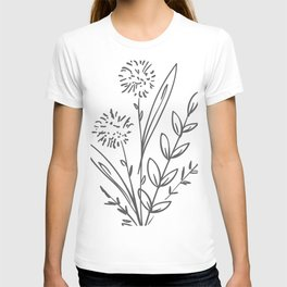 Line Art of Flowers 2 T-shirt