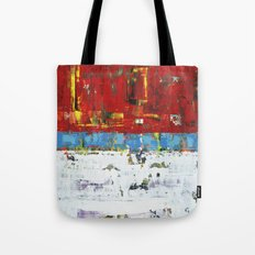 Folly Bright Red White Modern Art Abstract Painting Tote Bag
