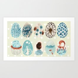 Easter eggs blue colletion Art Print