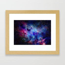 Blue Glitter Galaxy Framed Art Print