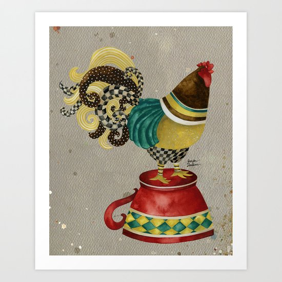 Rooster Willow Art Print