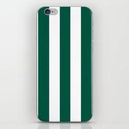 Castleton green - solid color - white vertical lines pattern iPhone Skin