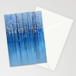 Winter Trees Glazed in Ice Reflecting in Pond Stationery Cards