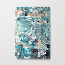 035.2: a vibrant abstract design in green black and blue by Alyssa Hamilton Art Metal Print