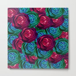 closeup blooming roses in red blue and green Metal Print