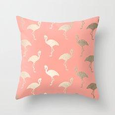 Gold Flamingo Pattern Coral Pink Throw Pillow