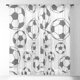 Soccer Balls Sheer Curtain