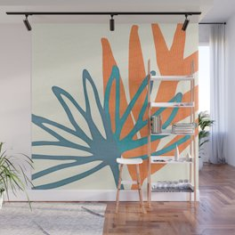Mid Century Nature Print / Teal and Orange Wall Mural