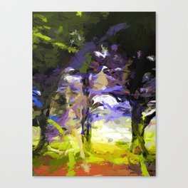 Tree Avenue Lavender Lilac Green Canvas Print
