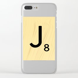 Scrabble J Decor, Scrabble Art, Large Scrabble Tile Initials Clear iPhone Case
