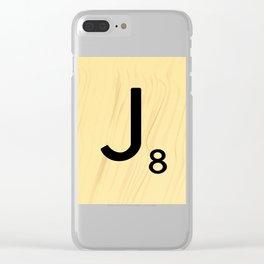Scrabble J Decor, Scrabble Art, Large Scrabble Tile Initials Clear iPhone Case
