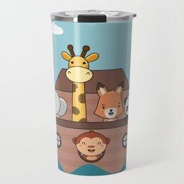 Kawaii Cute Zoo Animals On A Boat Travel Mug