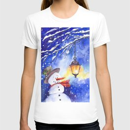 Watercolor snowman in Christmas winter night T-shirt