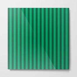 Jade Green Stripes Pattern Metal Print